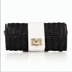 NWT Talbots Wicker & Leather Crossbody Bag